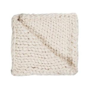 Pătură Chunky Plaids, albă, tricotată manual, 100 x 150 cm