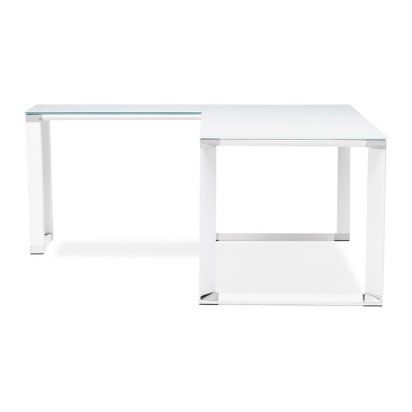 Bílý pracovní rohový stůl se skleněnou deskou Kokoon Warner