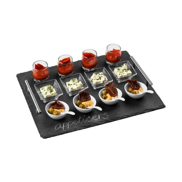 Sada 8 misek, 4 skleniček a 4 lžiček na břidlicovém podnosu Premier Housewares Appetiser