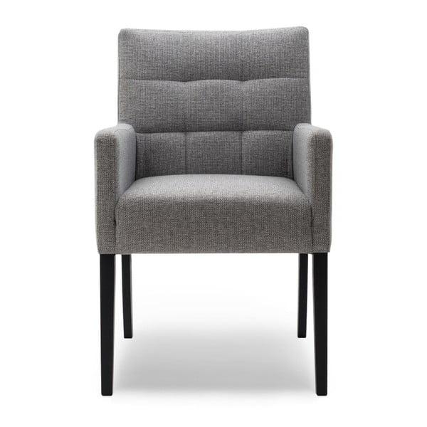 Sivá jedálenská stolička s područkami a nohami z dubového dreva Mossø Menne