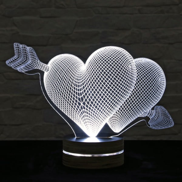 3D stolní lampa Two Hearts