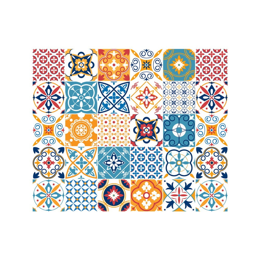 Sada 30 nástěnných samolepek Ambiance Cement Tiles Liliana, 10 x 10 cm