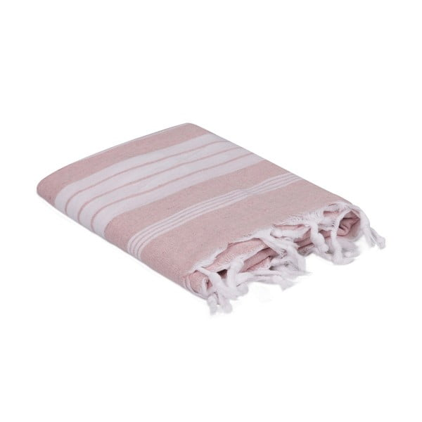 Jasnorózowo-biały ręcznik, 170x90 cm