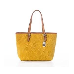 Žlutá kožená kabelka Federica Bassi Girandola