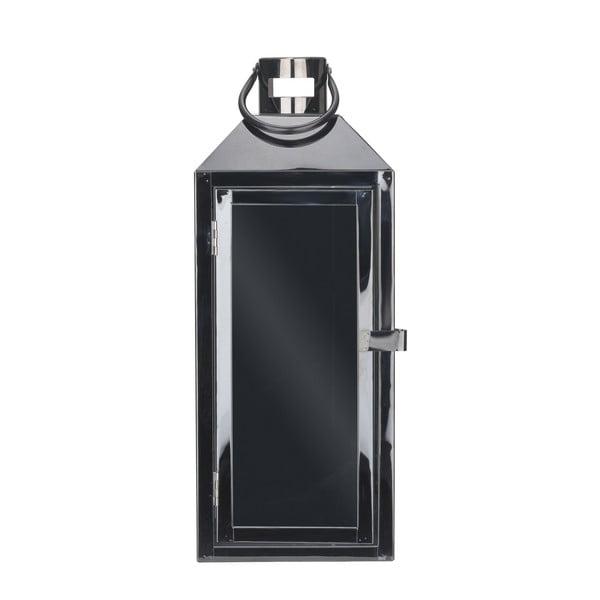 Čierny kovový lampáš s pútkom Villa Collection, výška 35 cm