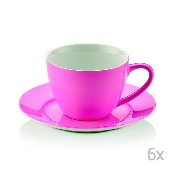 Zestaw 6 różowych filiżanek porcelanowych ze spodkami Efrasia, 200 ml