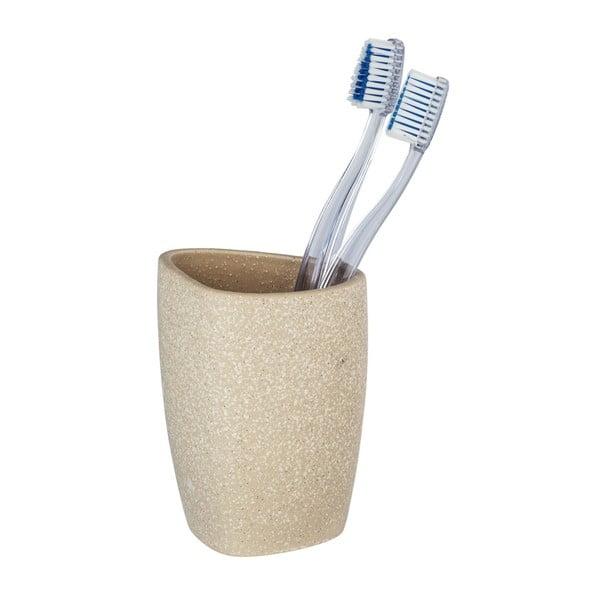 Béžový keramický kelímek na zubní kartáčky Wenko Pion