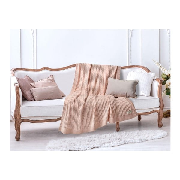 Lososově růžová bavlněná deka Madame Coco Knitty, 130 x 170 cm