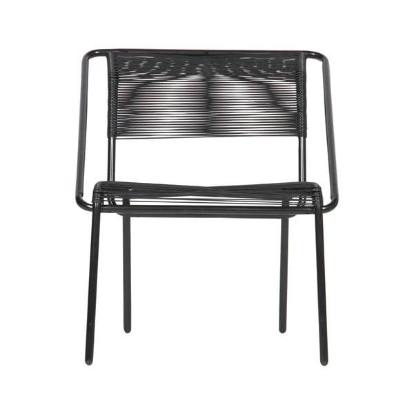 Čierna stolička z plastového ratanu vhodná i do exteriéru BePureHome Wisp
