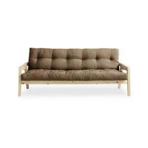 Variabilní rozkládací pohovka s futonem v kávově hnědé barvě Karup Grab Natural/Mocca