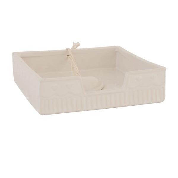 Béžový box na ubrousky Clayre & Eef, 16x4 cm