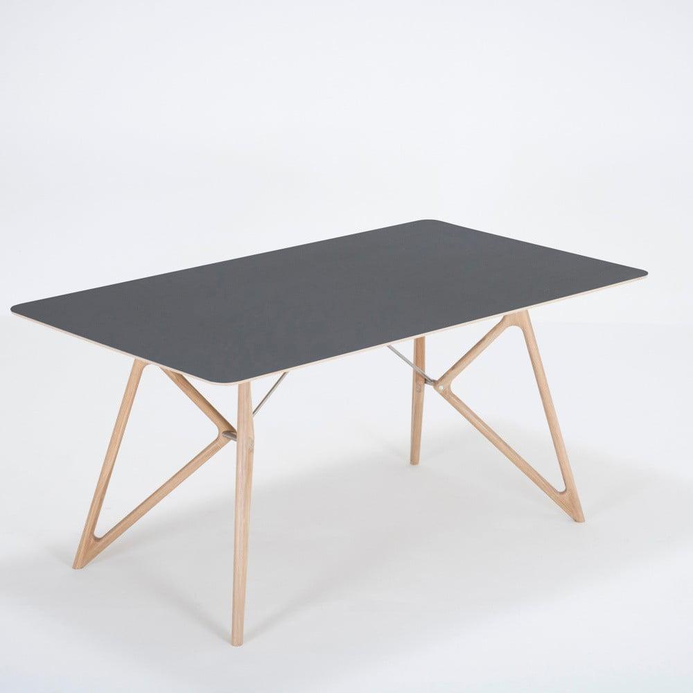Jídelní stůl z masivního dubového dřeva s černou deskou Gazzda Tink, 160x90cm