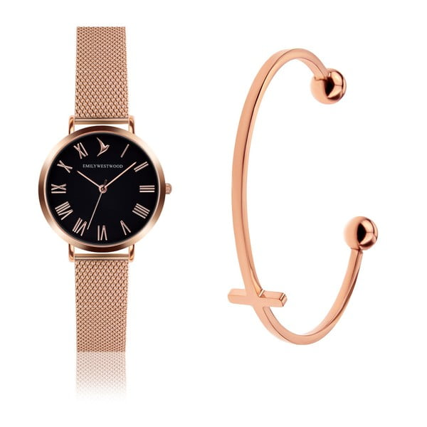Zestaw damskiego zegarka z nierdzewnym paskiem w złotoróżowym kolorze i bransoletki Emily Westwood Mihna
