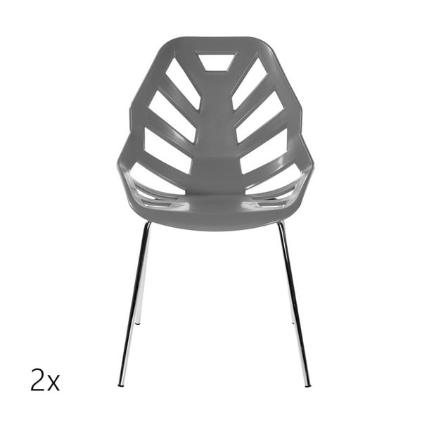 Set 2 šedých židlí Ninja, chromové nohy