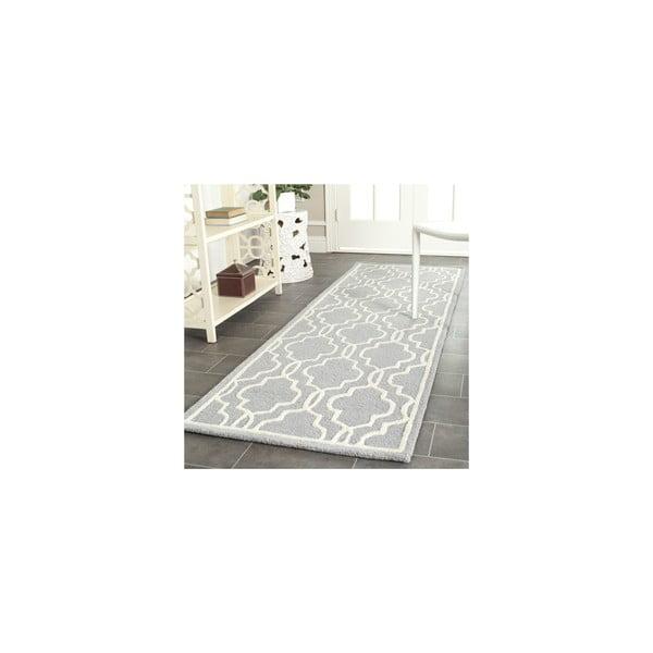 Vlněný koberec Elle 91x152 cm, šedý