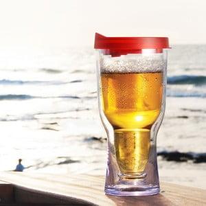 Nezničitelná sklenice na pivo Brew2Go, červená