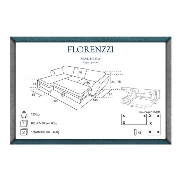Šedo-tyrkysová rozkládací pohovka Florenzzi Maderna s lenoškou na levé straně
