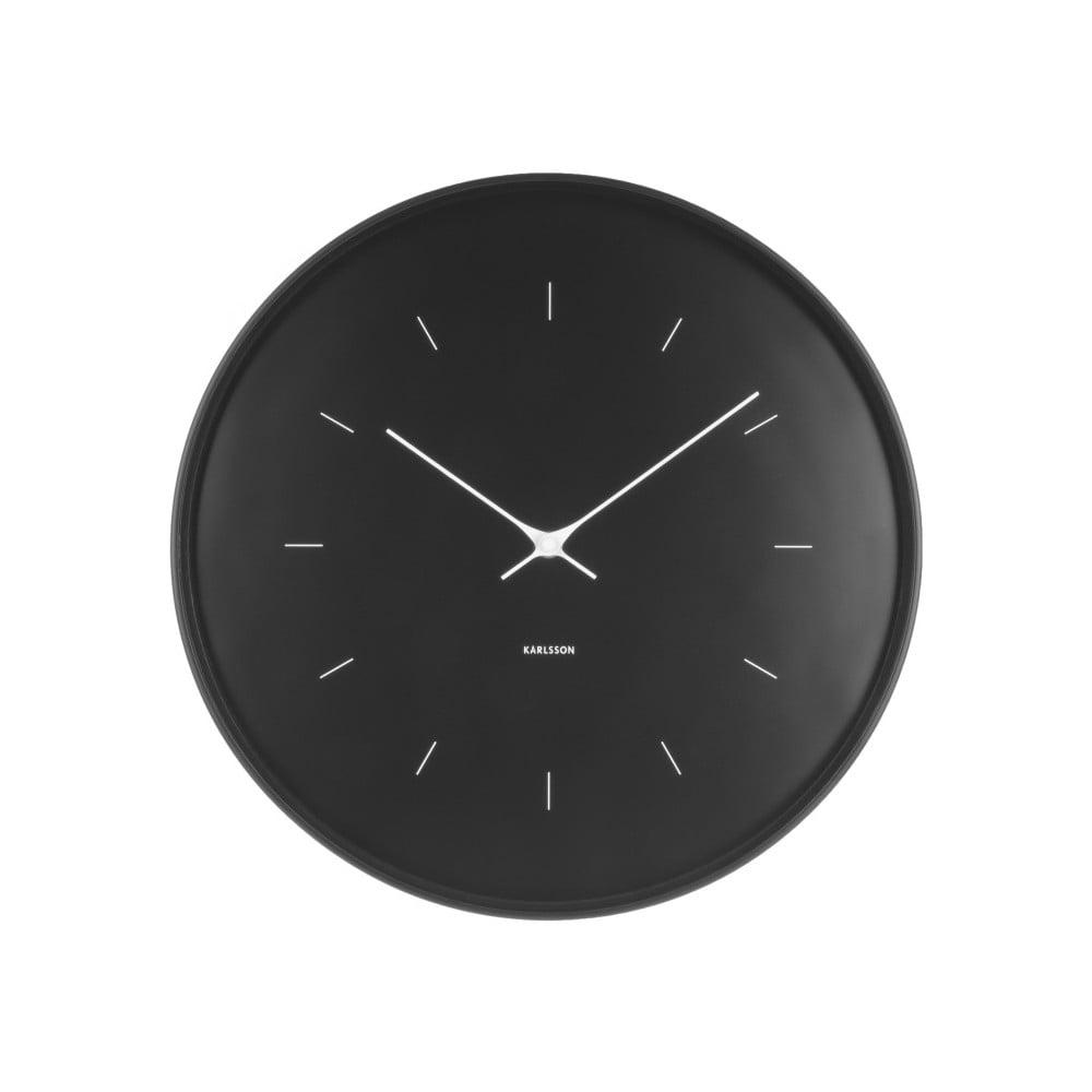 Černé nástěnné hodiny Karlsson Butterfly, Ø 37,5 cm