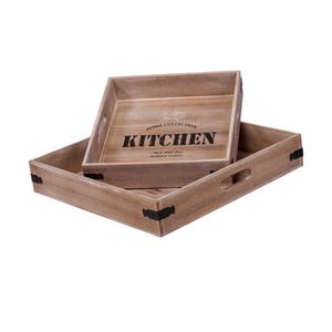 Set 2 tăvi pentru servire Kitchen Square Brown