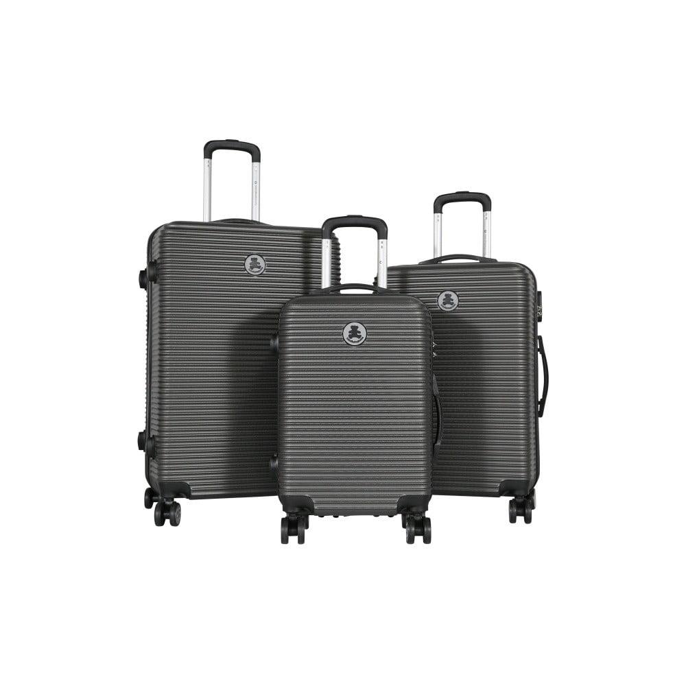 Sada 3 tmavě šedých cestovních kufrů LULU CASTAGNETTE Lucy