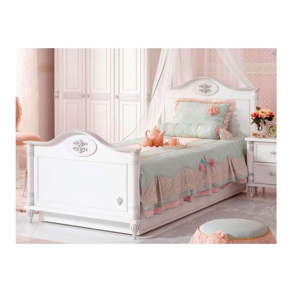 Bílá jednolůžková postel Romantic Bed, 100 x 200 cm