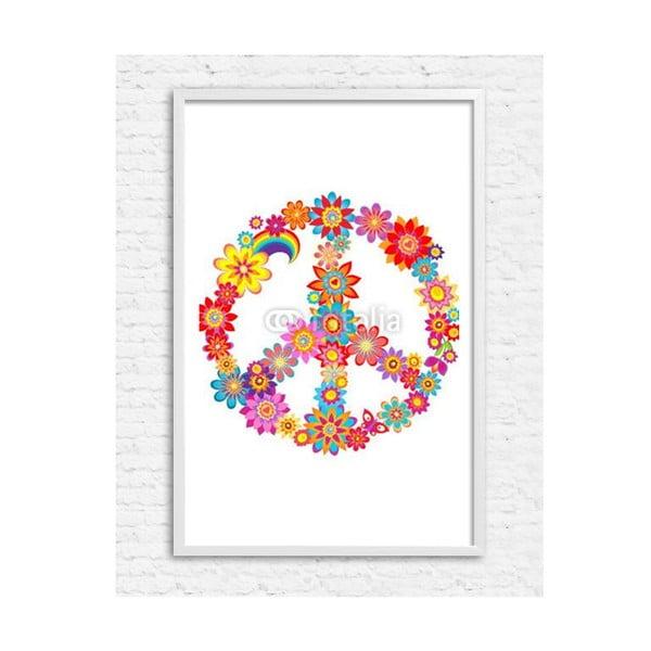 Zarámovaný plakát Peace Flower, bílý rám