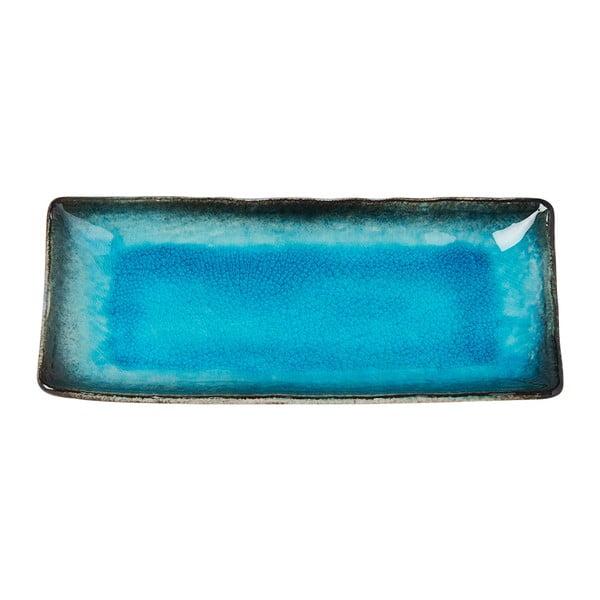 Modrý keramický servírovací tanier MIJ Sky, 29x12cm