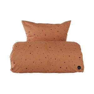 Set karamelově hnědého povlečení na peřinu a polštář z organické bavlny OYOY Dot, 200 x 140 cm