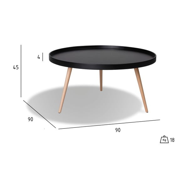 Măsuță de cafea cu picioare din lemn de fag Furnhouse Opus, Ø 90 cm, negru