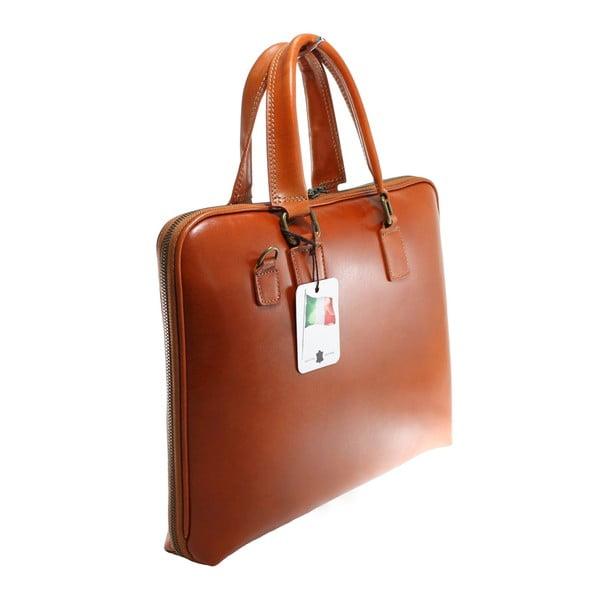 Koňakově hnědá kožená taška Chicca Borse Noel