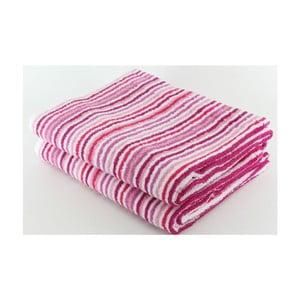 Set 2 osušek Pink Stripes, 70x140 cm