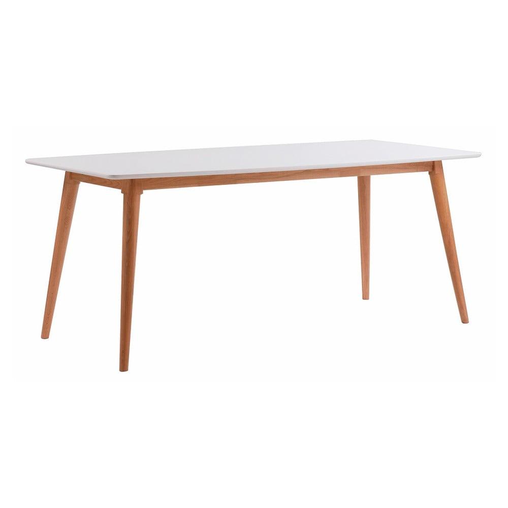 Bílý dubový jídelní stůl s přírodními nohami Folke Sprite