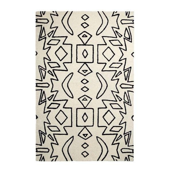 Vlněný koberec Spectrum White Black, 120x170 cm