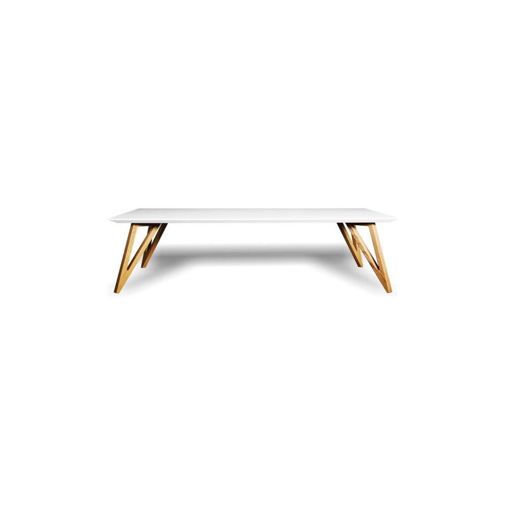Bílý konferenční stolek z masivního jasanového dřeva Charlie Pommier Triangle, 100 x 70 cm