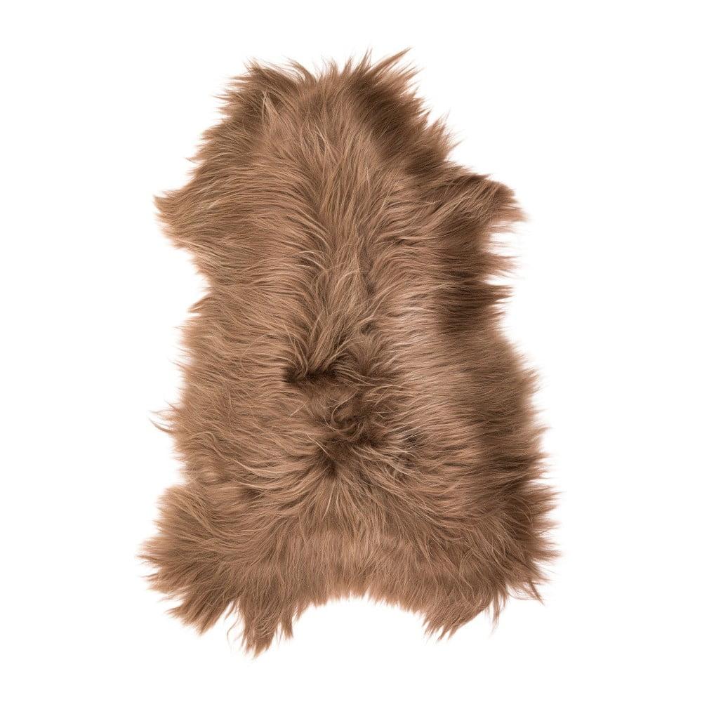 Hnědá ovčí kožešina s dlouhým chlupem Fujo, 110 x 55 cm