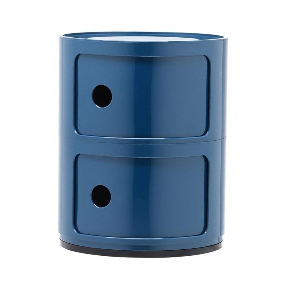 Modrý kontejner se 2 zásuvkami Kartell Componibili