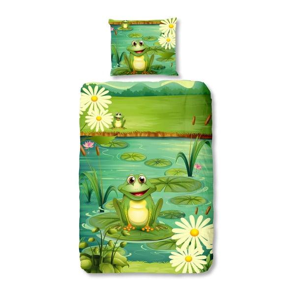 Lenjerie de pat din bumbac pentru copii Good Morning Frogs,140x200cm