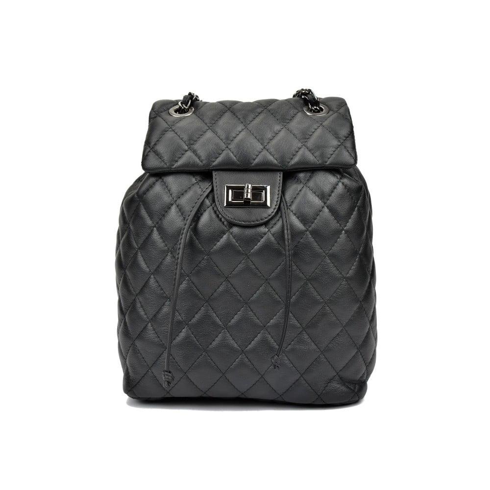 Černý kožený batoh Anna Luchini Caterine ... 08286a6abe
