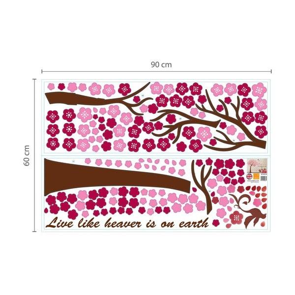 Samolepka na stěnu Walplus Velký růžový strom