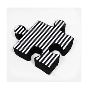 Černý polštářek Puzzle Stripe
