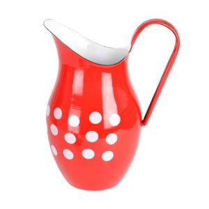 Červený smaltovaný džbán Orion Belly, 2,5l