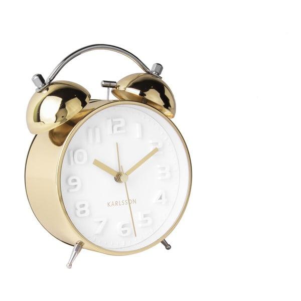 Wake Up aranyszínű fém ébresztőóra - Karlsson