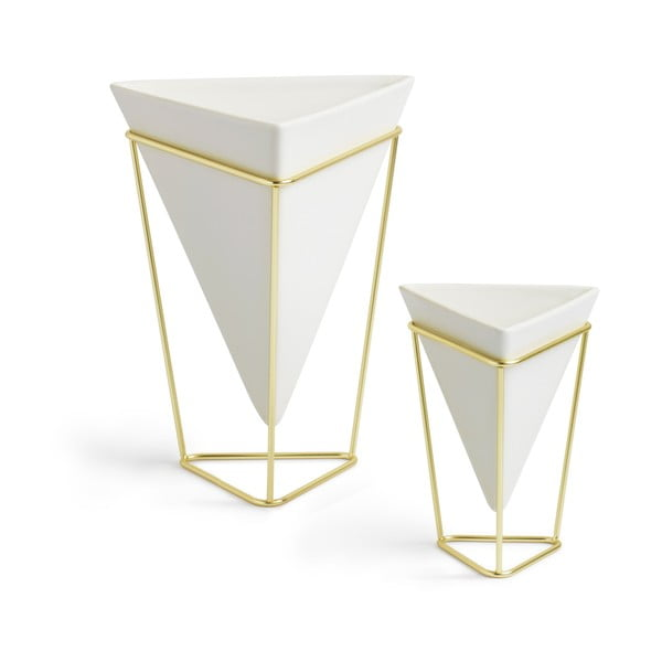 Sada 2 bílých keramických květináčů s konstrukcí ve zlaté barvě Umbra Trigg