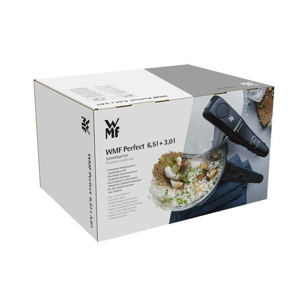 Set 2 oale din oțel inoxidabil pentru gătit sub presiune cu un capac WMF Cromargan® Perfect