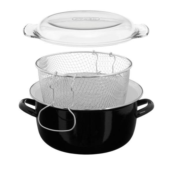Černý fritovací hrnec Premier Housewares, objem 5 l