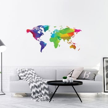 Autocolant de perete Ambiance Origami Rainbow World Map, 40 x 80 cm de la Ambiance