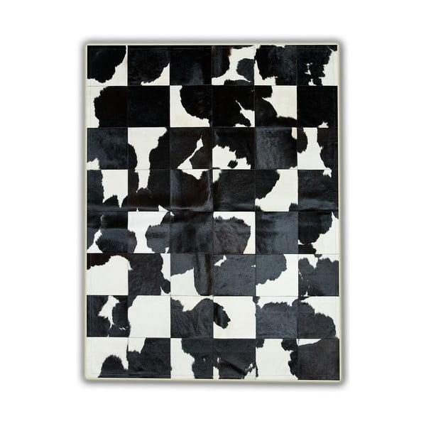 Koberec z pravé kůže Black&White, 150x210 cm
