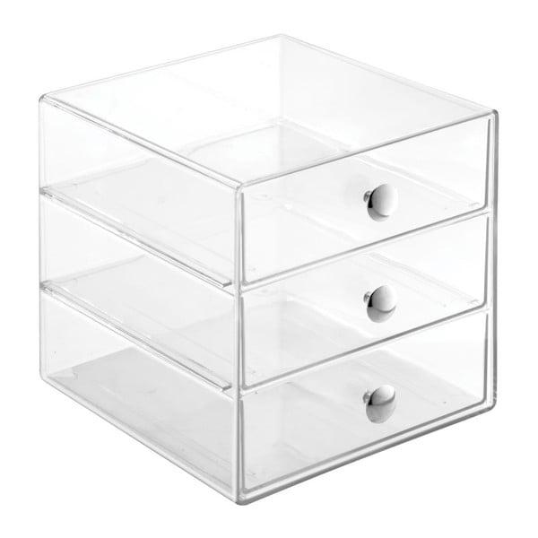 Cutie depozitare transparentă cu 3 sertare InderDesign Drawers, înălțime 16,5 cm