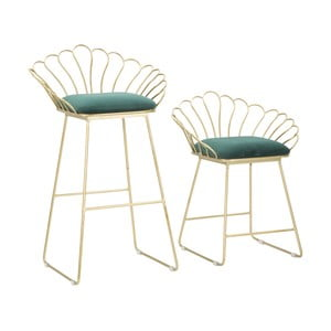 Set 2 scaune bar Mauro Ferretti Flower, auriu-verde