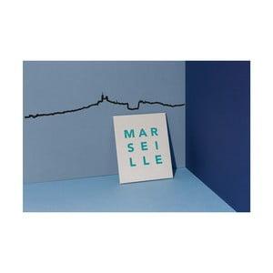 Decorațiune de perete cu silueta orașului The Line Marseille, negru